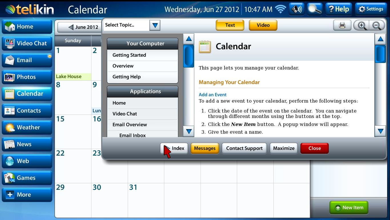 Calendar help index button capture