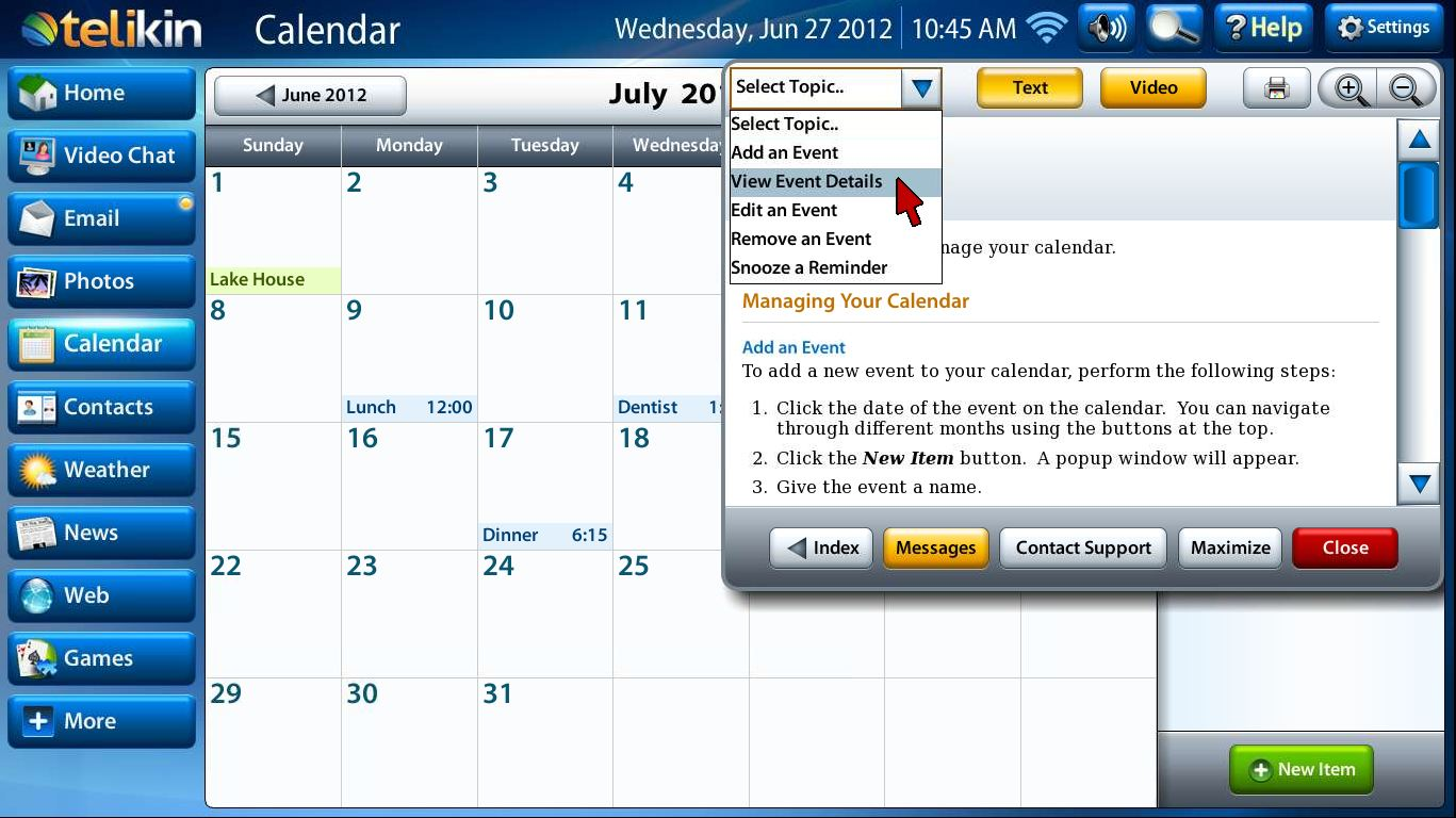 Calendar help screen capture