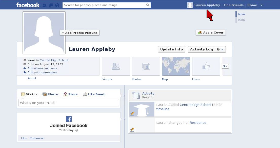 Facebook Timeline Screen2