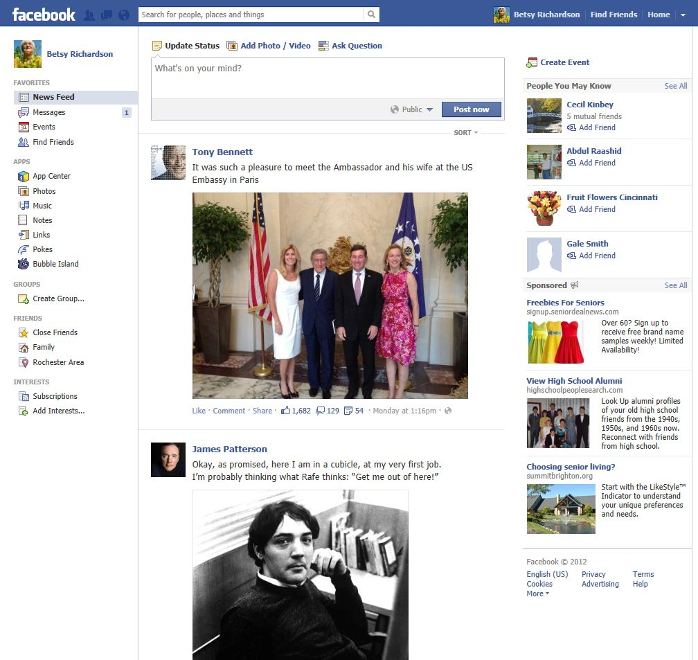 Facebook home page screen betsy