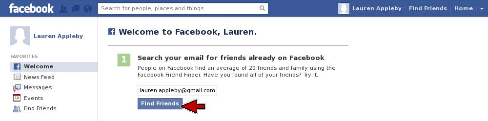 Facebook search for friends email