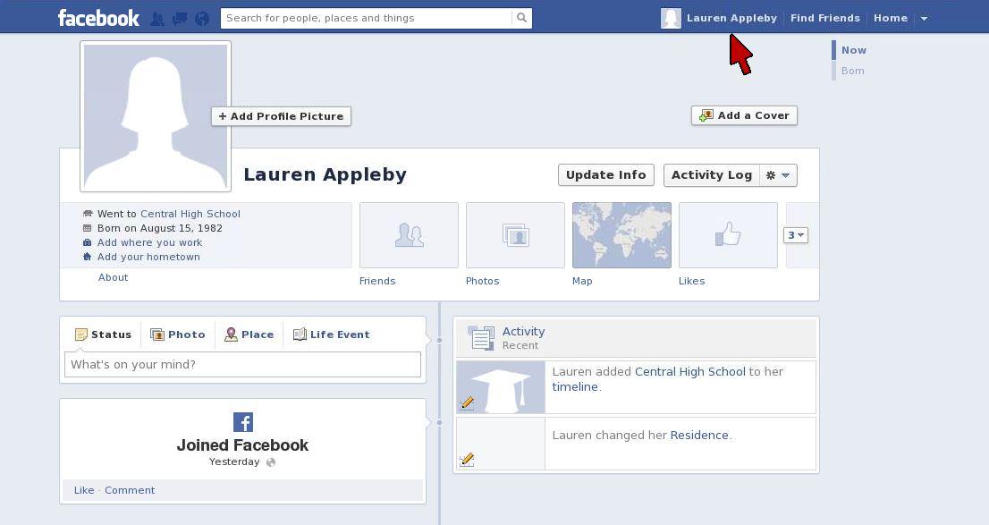 Facebook Timeline Screen2